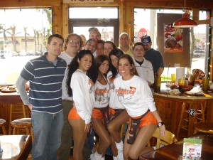 CBSSports Crew with Hooters waitresses
