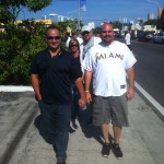 Walking up to Marlins Park.