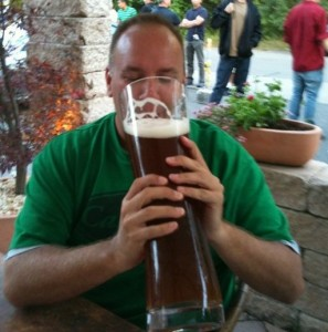 David Gonos drinks a 3-liter beer in Germany in 2010.