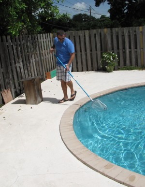 George cleans the pool before the GFY Fantasy Football 2012 Keeper Draft