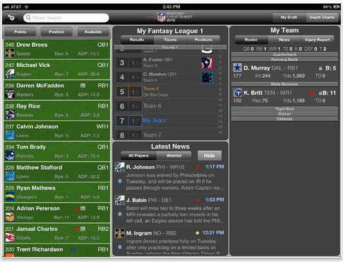NFL - Fantasy Football Draft iPad Apps