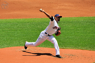 Danny Salazar in his pitching motion